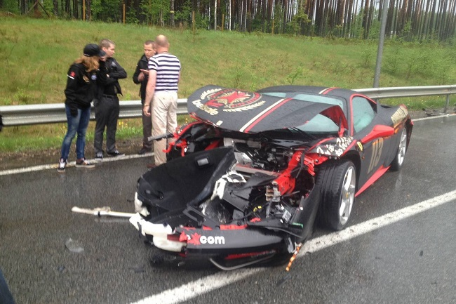 Accidente Ferrari 458 gumball 3000 frontal