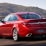 2014 Buick Regal GS ? rear view with Copper Red Metallic exterior color and 20-inch Alloy polished wheels