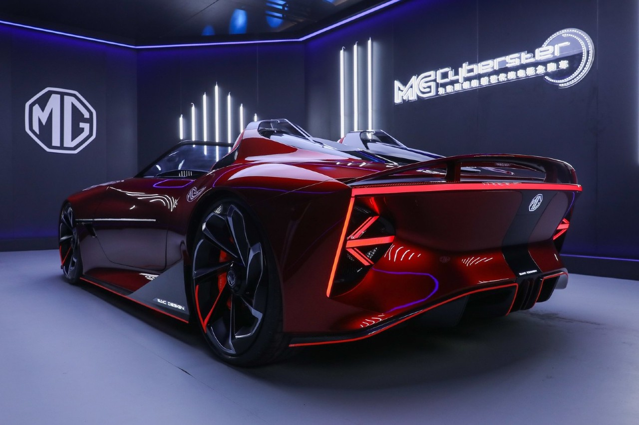 MG Cyberster Concept Car 3/4 trasera